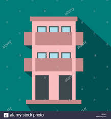 two storey house with balcony flat icon stock vector art
