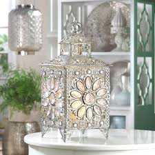 faceted crown jewels set in silver tone candle lantern wedding