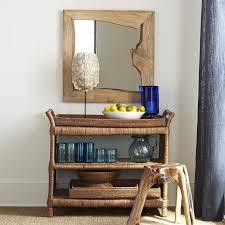 Decorative Wooden Shelf Edging Mirror In Brown