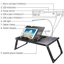ancheer folding adjustable laptop table with built in 10000mah