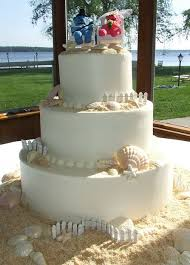 tier beach theme wedding cake with seashells and sand jpg