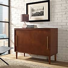 everett mahogany media console crosley furniture media storage