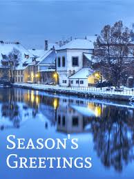 beautiful winter town season s greeting card birthday