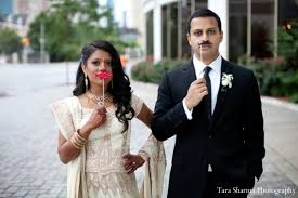 indian wedding reception dress couple portraits in jersey city