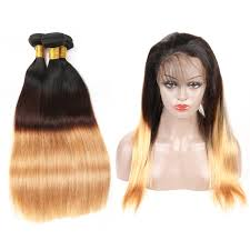 ombre weave ombre color 1b 4 27 human hair weave 3 bundles with 360