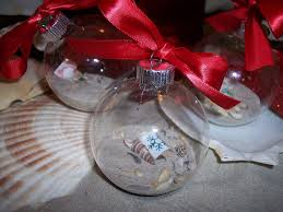 coastal ornaments clear glass ornaments with sand shells