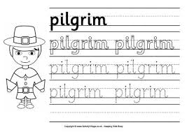 pilgrim handwriting worksheet for children thanksgiving activities