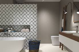 Feature Wall Bathroom Ideas Colors Elegant Patterned Feature Wall For Bathroom Fiorella Tile