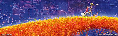 coco 2017 animation 4k wallpapers crossing the orange petal bridge in the land of the dead from