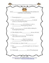 thanksgiving adjective sentences teacherlingo
