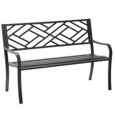Black Metal Chairs Outdoor Hampton Bay Easterly Steel Black Outdoor Bench Hd17590 The Home