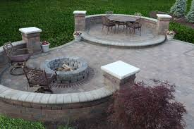 Firepit Bench by Grey Brick Stone Bench Patio With Fire Pit And Black Metal Also