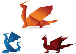 paper dragons royalty free origami paper clip vector images