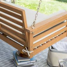 Patio Swing Cushions Deep Seat Wood Porch Swing Outdoor Bed With Cushion And 2 Bolster
