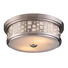 Lowes Ceiling Light Fixture Shop Portfolio 13 In W Satin Nickel Wall Flush Mount At Lowes
