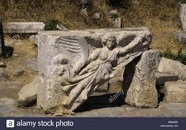 stone carving of the greek goddess nike ephesus turkey stock