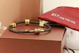 leather bracelet craft images Chow sang sang original with leather bracelet leather rope diy jpg