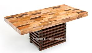 wood block dining table the best of sustainable dining table butcher block design reclaimed