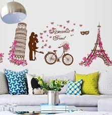 Eiffel Tower Room Decor Romantic Women Paris Eiffel Tower Wall Stickers Decals Girls