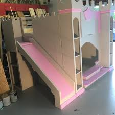 Castle Bunk Bed With Slide Grey U0026 Pink Castle Bunk Bed With Stairs And Slide Holiday U0027s