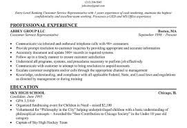 Sample Resume For Customer Service Representative In Bank by Templates Resume Entry Level Banking Customer Service