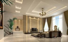 decorative gypsum board ceiling for living room with recessed