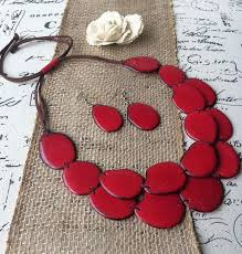 red necklace set images Tagua nut red layered necklace and earrings set galapagos tagua jpg