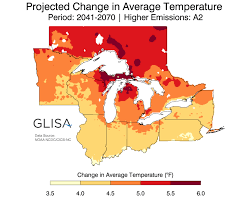 Map Of Northern Michigan by Great Lakes Regional Climate Change Maps Glisa