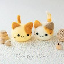 japanese needle wool felt mascot diy kit kawaii twin cats
