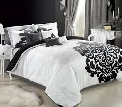 black and white comforter set with arch black headboard desk and