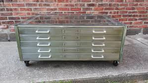 Wood Flat File Cabinet by Brushed Steel Flat File Coffee Table