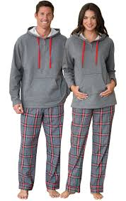 gray plaid hooded his hers matching pajamas his hers