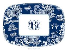 personalized melamine platter personalized melamine chinoiserie navy plate from boatman geller
