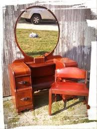Antique Vanity With Mirror And Bench - waterfall style furniture waterfall bedroom set 1930 40