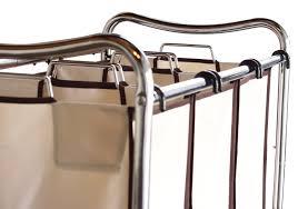 3 Section Laundry Hamper by Laundry Sorter 3 Bag Heavy Duty Rolling Cart Hamper Chrome Metal