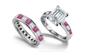 Pink Wedding Rings by Emerald Heart Diamond Engagement Rings U0026 Wedding Rings