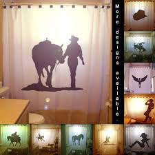 Horse Kitchen Curtains Western Bathroom Set Cowboy Boot Cowboy Hat And Horse Cream And
