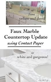 Contact Paper Desk Makeover Diy Faux Marble Countertop Update Rental Bathroom Contact Paper