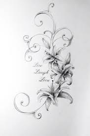 love laugh love lily flower tattoo design