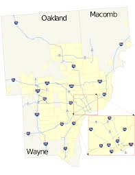 Detroit Zip Codes Map by Roads And Freeways In Metropolitan Detroit Wikipedia