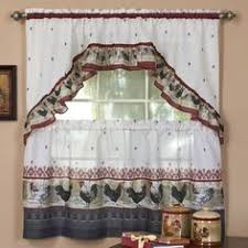 Kitchen Window Curtains by Rooster Themed Kitchen Curtains Complete Window Treatment Tiers