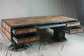 Reclaimed Wood Desk Furniture Amazon Com Vintage Industrial Wooden Desk With Drawers