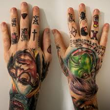 tattoo old school mani left hand nikko hurtado right hand cecil porter pins needles