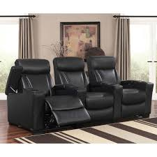 home theater loveseat romano 3 piece top grain leather power media recliners living room