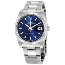 mens watches with bracelet images Rolex oyster perpetual date 34 blue dial stainless steel bracelet jpg
