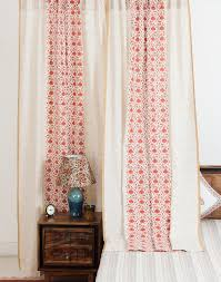 buy fabindia pink cotton printed kavika curtain online fabindia com