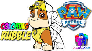 learn to color paw patrol u0027s rubble coloring page nick jr
