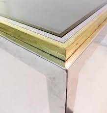 brass glass dining table vintage rectangular brass chrome smoked glass dining table for
