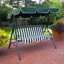 appealing green metal porch swing with stripped pad and canopy