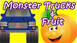 monster trucks children driving truck oranges
